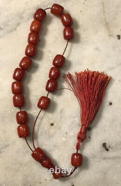 Antique Années 1930 Faturan Cherry Amber Bakelite Prière 18 Bead Mala Testé