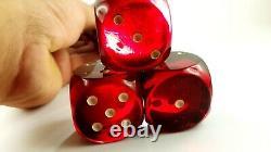 Antique Années 1930 Old Amber Bakelite Cherry Amber Faturan Dice Block Dark 135 Grammes
