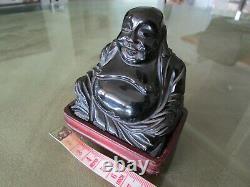 Antique Art Déco 1930's Chinese Carved Cherry Amber Bakelite Faturan Buddha 143g