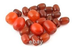 Antique Art Déco Cerise Bakélite Ambre Colliers Faturan 164g 22 Perles Molles