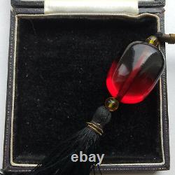 Antique Art Déco Cherry Amber Bakelite Bead Tassel Flapper Collier Testé Gatsb