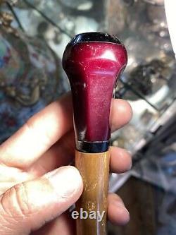 Antique Art Deco Cherry Amber Faturan Bakelite Parapluie Poignée 36 Gr