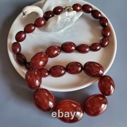 Antique Art Déco Cherry Red Amber Bakelite Beaded Strand Collier 1920's-30