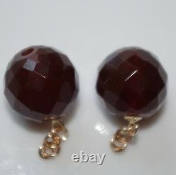 Antique Authentique 14k Or 11mm Cerise À Facettes Boucles D'oreilles Ambres Vestes Drop