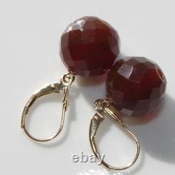 Antique Authentique 14k Or 11mm Faceted Cherry Amber Lever Boucles D'oreilles Arrière