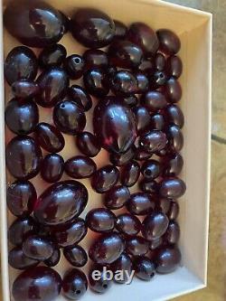 Antique Bakelite Cherry Red Amber Broken Necklace 89grammes