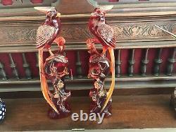 Antique C1800s Chinese Cherry Red Amber Figurines (oiseau Du Paradis)11 1/2