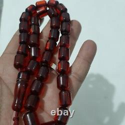 Antique Cerise Allemande Ambre Bakélite Perles De Prière 65 Gr