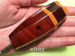 Antique Cerise Amber Faturan Bakelite Umbrella Canne Poignée Art Déco Allemagne