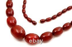 Antique Cerise Ambre Bakélite Faturan Perles Collier Marbré 71.5g