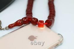 Antique Cerise Ambre Rare Allemand Faturan Bakélite Prière Perles Misbaha 80 Ans