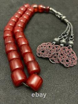 Antique Cerise Ottomane Amber Faturan Prayer Beads Misbaha Rosary Sandalous
