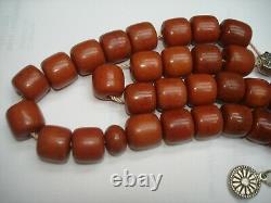 Antique Cerise Ottomane Ambre Bakelite Faturan Testé Perles De Prière Islamiques Années 1900