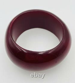 Antique Cerise Rouge Naturel Ambre Asymétrique Bracelet Bangle Énorme 124.8 Grams