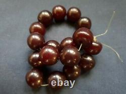 Antique Cerise Rouge Rouge Ambre Bakelite Faturan Prière Perles Damari 39 G! Non, C'est Un