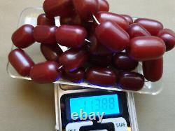 Antique Cerise Veinée Ambre Bakélite Faturan 33 Perles De Prière 113 Grammes
