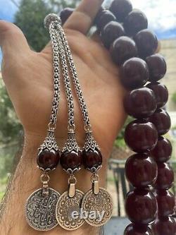 Antique Chapelet Ottoman Faturan Cerise Ambre Bakelite Perles De Prière Argent Lourd