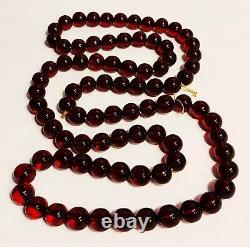 Antique Cherry Amber Bakelite 85 Collier De Perles 140+ Grammes 45 Long Art Déco
