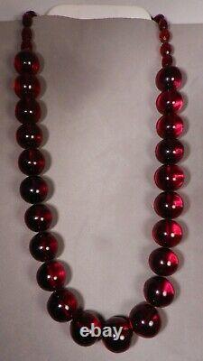 Antique Cherry Amber Bakelite Beads Necklace, 64gr, 21l, 16mm Taille De La Borde, Clear