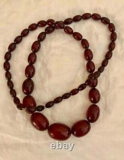 Antique Cherry Amber Bakelite Faturan Art Déco Large Bead Graduated Necklace 78g