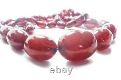 Antique Cherry Amber / Bakelite Faturan Bead Necklace C1900s