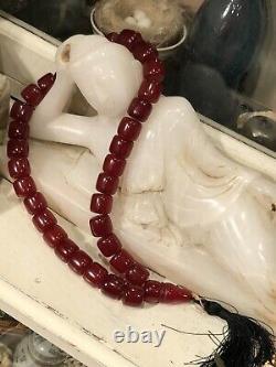 Antique Cherry Amber Bakelite Faturan Islamic Prayer Perles