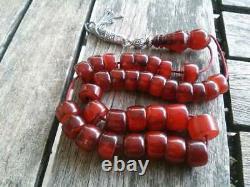 Antique Cherry Amber Bakelite Faturan Misbaha Tesbih Vieilles Veines De Perles De Prière 46gr
