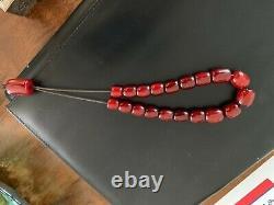 Antique Cherry Amber Bakelite Faturan Prayer Beads Komboloi 45 Grammes Extra Rare