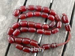 Antique Cherry Amber Bakélite Faturan Tesbih Misbaha Vieille Perles De Prière Veins 39gr