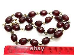 Antique Cherry Amber Bakelite Perle En Or Roulé Collier Court Coker 14.5