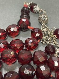 Antique Cherry Amber Facetted Faturan Bakalite - Prière Islamique 33 Perles 51g R3