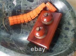 Antique Cherry Amber Faturan Bakelite Art Déco, (desk Bell Push Buttons)