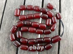Antique Cherry Amber Faturan Bakelite Prayer Tesbih Misbaha Veins Perles 100grams