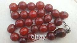 Antique Cherry Amber Rare Faturan Bakelite Prière Perles Islamiques Veines Misbaha