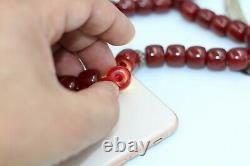 Antique Cherry Amber Rare German Faturan Bakelite Prière 70 Ans Perles Misbaha