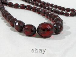 Antique Cherry Ambre Faceted Bead Necklace 32 56 Grammes