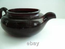 Antique Chinois Cerisier Foncé Ambre Individuel Teapot, Incisés Décoration