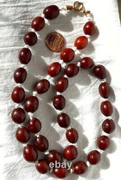Antique Chinois Qing Ming Baltic Butterscotch Cherry Amber Bead Collier