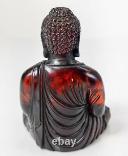 Antique Chinois Sino Tibétain Cerise Baltique Ambre Assis Bouddha Figure