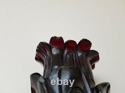Antique Dark Cherry Amber Bakélite Chinois Figurine 15cm 6po