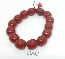 Antique Faturan Cerise Ambre 12 Mêmes Perles Marbrées 20 Grams