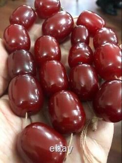 Antique Faturan Cerise Ambre Bakélite Perles Énormes 151 Grammes