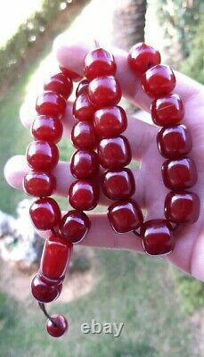 Antique Faturan Cerise Ambre Bakélite Rosaire / Tesbih Perles 81 Grammes