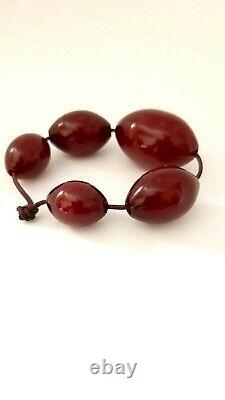 Antique Faturan Cerise Bakélite Ambre Perles Damrari/veins 24,5 Grams