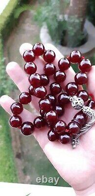 Antique Faturan Cerise Rosaire Ambre Bakélite Prière Perles Tesbih Misbah 98 Veines