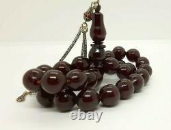 Antique Faturan Cerise Rosaire Ambre Bakélite Prière Perles Tesbih Misbah Veines 70
