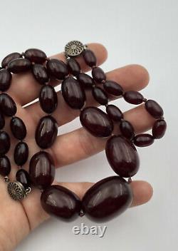 Antique Faturan Cherry Amber Bakelite Bracelet & Collier 59 Grams