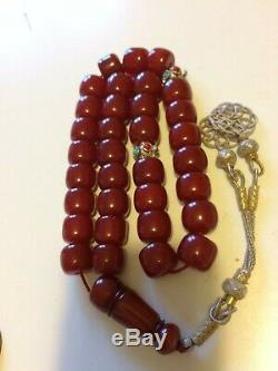 Antique Faturan Cherry Amber Bakélite Prière Bead (86g Sans Argent)