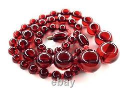 Antique Faturan Cherry Amber Collier Gradué Perle 19 Testé 24g Red Bakelite
