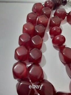 Antique Faturan Fait Main Bakelite Cerise Ambre Perle De Prière Tasbih 77 Grammes